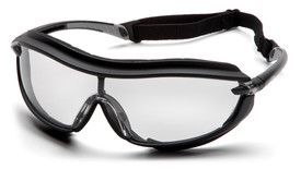 Pyramex XS3 Plus Slim Temple Safety Glasses - Black full foam padded frame with clear anti fog lenses and back strap, angled front view