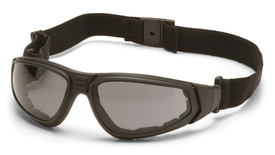 Pyramex XSG FR Foam Padding Safety Glasses - Black full frame padded safety glasses with gray anti fog lenses and back strap, angled front view