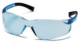 Pyramex Ztek Non-Slip Rubber Temple Safety Glasses - Blue tinted frameless safety glasses with blue anti fog lenses and rubber temples, angled front view