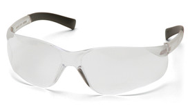 Pyramex Mini Ztek Slim Face Safety Glasses - Clear frameless safety glasses with clear lenses and rubber temples, angled front view