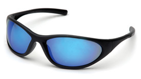 Pyramex Zone II Soft Nose Pad Safety Glasses - Matte black full frame safety glasses with blue mirrored lenses, angled front view