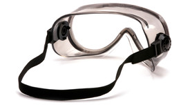 Pyramex Tinted Chemical Splash Goggles - Tinted chemical splash resistant safety goggles with elastic strap, angled back view