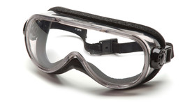 Pyramex Goggles with Breakaway HeadBand - Full foam padded frame safety goggles with chemical splash resistant lenses and elastic strap, angled front view
