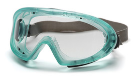 Pyramex Chemical Splash Googles with Removable Vent Caps - Green frame chemical splash resistant safety goggles with face shield and adjustable strap, angled front view