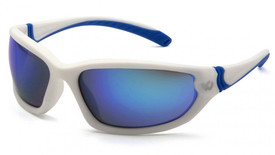 Pyramex Venture Gear Ocoee Sporty Unisex Glasses - Side angle view of white framed glasses with blue mirror lens