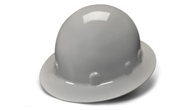 Pyramex Standard Sleek Shell Hard Hat - Gray standard cap style hard hat with full brim and low profile design, angled front view