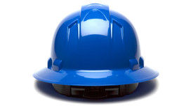 Pyramex Ridgeline Full Brim Hard Hat - Blue standard cap style hard hat with top ridgeline and full brim, back view
