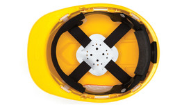 Pyramex Ridgeline Replacement 4 Point Suspension - Interior hard hat fitting straps and foam padding, shown in hard hat