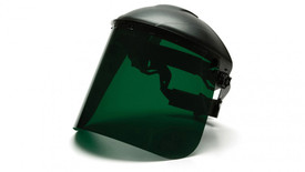 Pyramex Dark Green Face Shield - Dark Green Face Shield attached to hard shell helmut