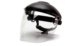 Pyramex Polycarbonate Tapered Face Shield - Clear Face Shield attached to hard shell helmut