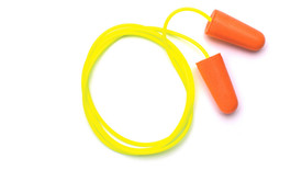 Pyramex Disposable Corded Ear Plugs - 2 orange foam disposable ear plugs joined by a yellow cord