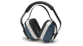 Pyramex NRR 25dB Ear Muff - black and blue earmuffs with padded headband