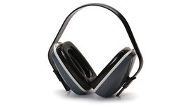 Pyramex NRR 22dB Safety Ear Muff - Black and gray padded ear 22dB ear muffs with black over head stretch band