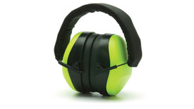 Pyramex NRR 26 dB Safety Ear Muff - Lime green padded 26dB safety ear muffs with foam padded over head stretch band, collapsed, angled front view