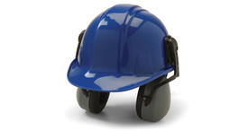 Pyramex Cap Mounted NRR 27 dB Safety Ear Muff - Safety ear muffs mounted on a blue hard hat