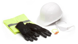 Pyramex All in 1 Safety Kits - Nitrile Gloves laid on top of Hi-Viz Folder Safety Vest disposable foam ear plugs, clear safety glasses and a white hard hat laid next to the vest and gloves