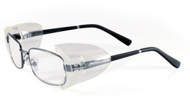 Pyramex Slip On Side Shield - Peripheral safety glasses side shields for attachment to glasses, shown in place