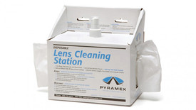 Pyramex Safety Glasses Lens Cleaning Station - White Box with spray bottle in the middle and glasses cleaning tissues coming out both sides for people to pull on & titled Lend Cleaning Station