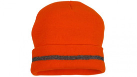 Pyramex Hi Viz Knit Cap - Neon orange high visibility knit cap with black strip
