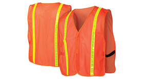 Pyramex Non ANSI Mesh Vest with Reflective Tape - Orange mesh safety vests with reflective high visibility strips
