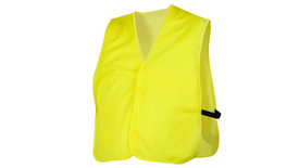Pyramex Non ANSI Mesh Vest  - High visibility lime green mesh vest with black elastic strap, front view