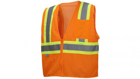 Pyramex Class 2 Mesh Hi Viz 2 Tone Trim Safety Vest - Front View of Hi-Viz Orange Safety Mesh Vest with zipper front closure and silver on yellow wide reflective tape around the entire waist and from waist up over shoulders and down the back