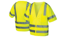 Pyramex Class 3 Mesh Hi Viz 7 Pocket Safety Vest - Front and Back View of Hi-Viz Lime Safety Mesh Vest with sleeves and zipper front closure and Two silver reflective stripes applied horizontally around bottom of vest with 2 inch space between stripes and Two silver reflective stripes applied vertically from top of chest pockets, over shoulders to the stripe on the back side of vest and One silver reflective stripe applied around each sleeve and a pocket on the left and right upper chest stripe on the back side of vest