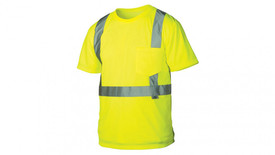 Pyramex Class 2 Hi Viz Pocket T-Shirt - Front View of Yellow High Viz Short Sleeve T-Shirt with Silver Reflective Tape around the entire waist and silver reflective tape starting at the waist and going vertically up the shirt and over the shoulders and down the back to the reflective tape going around the waist and 1 left chest pocket