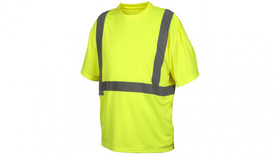 Pyramex Class 2 Hi Viz T-Shirt - Front View of Yellow High Viz Short Sleeve T-Shirt with Silver Reflective Tape around the entire waist and silver reflective tape starting at the waist and going vertically up the shirt and over the shoulders and down the back to the reflective tape going around the waist