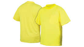 Pyramex NON-ANSI Hi Viz T-Shirt - Front and Back View of Yellow Short Sleeve T-Shirt with front left chest pocket
