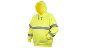 Pyramex Class 2 Hi Visibility Yellow Hoodie - Front View of a Yellow Hi-Viz pullover hooded sweatshirt with front pouch pocket, drawstring hood and silver reflective tape around the entire mid chest, silver reflective tape around both sleeves at the wrist area and around both arms above the elbows