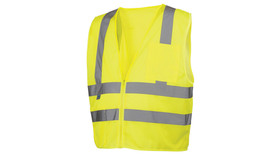 Pyramex Class 2 Mesh Lightweight Hi-Vis Safety Vest - Front View of Hi-Viz Lime Safety Mesh Vest with zipper front closure and 2 silver reflective tape applied horizontally around lower and mid waist of vest and Two silver reflective tape applied vertically from horizontal tape up and over shoulders to the stripe on the back side of vest and one pocket on the left chest