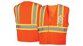 Pyramex Class 2 Mesh Breakaway Hook & Loop Hi-Vis Safety Vest - Front and Back View of Hi-Viz Orange Safety Mesh Vest with Hook & Loop front closure and orange on silver reflective tape applied horizontally around mid waist of vest and Two orange on silver reflective tape applied vertically from horizontal tape up and over shoulders to the stripe on the back side of vest and one clear see through pocket on the left chest