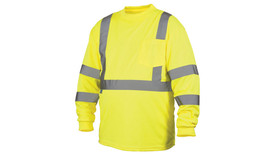 Pyramex Class 3 Long Sleeve Hi-Viz T-Shirt - Front View of Long Sleeve Hi-Viz Lime colored T-Shirt with 1 left pocket and silver reflective tape around lower chest, 2 silver reflective tape applied vertically from horizontal tape and going up and over shoulders and 2 reflective silver tape on each arm below the elbow and above the elbow