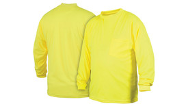 Pyramex NON-ANSI Long Sleeve Yellow T-Shirt - Front and Back View of Yellow Long Sleeve T-Shirt with front left chest pocket