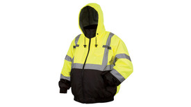 Pyramex Class 3 Hi Viz 2 Tone Removable Liner Bomber Jacket - Front View of  Black bottom and yellow top Hi-Viz Bomber jacket with front zipper and silver reflective tape around the entire lower chest, 2 silver reflective tape going up the front of the jacket starting at the horizontal tape and going over the shoulders and down the back and 2 silver reflective tape around each arm below the elbow and above the elbow and also has two front slit pockets on the right and left side