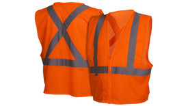Pyramex Class 2 Hi-Viz X on Back Safety Vest - Front and Back View of Hi-Viz Orange Safety Mesh Vest with Zipper front closure and silver reflective tape applied horizontally around mid waist of vest and Two silver reflective tape applied vertically from horizontal tape up to the shoulders and one pocket on the left chest and Two silver reflective tape applied from horizontal tape and crossing over each other as an X going up to the shoulders on the back