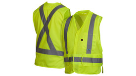 Pyramex Class 2 Breakaway X on Back Flame Retardant Vest - Front View of Hi-Viz Lime Safety Mesh Vest with Hook & Loop front closure and silver  reflective tape applied horizontally around waist of vest and Two silver reflective tape applied vertically from horizontal tape going up to shoulders and 1 chest pockets on the left side and 2 pieces of material that can be pulled away from waist on the left and right side and Back View of Hi-Viz Lime Safety Mesh Vest Back and silver reflective tape applied horizontally around waist of vest and Two silver reflective tape applied vertically crossing over each other as an X starting at horizontal tape and going up to the shoulders.