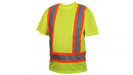 Pyramex Class 2 Contrast  Reflective Tape T-Shirt - Front View of Hi-Viz Lime Safety Solid Short T-Shirt  with silver reflective tape on orange reflective tape applied horizontally around waist and Two silver reflective tape on orange applied vertically from horizontal tape going up to shoulders and 1 pocket on left chest