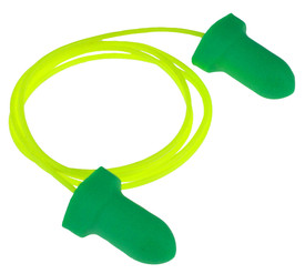 Radians Disposable Corded Wing Foam Ear Plugs NRR 32 - green wing shape foam earplugs with light green cord. Enlarged.