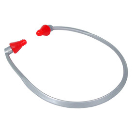 Radians Reusable RAD BAND Ear Plugs NR23 - Made in USA - silver curved band with red ear pods.