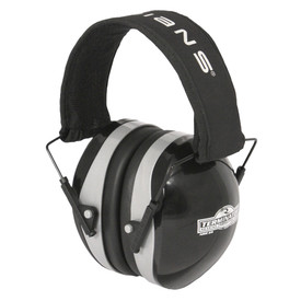 "Radians Terminator 29 NRR 29 EarMuff Protector - black and silver earmuffs with black cushion and black headband with ""RADIANS"" text on it."