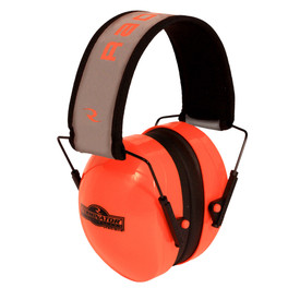 Radians Hi-Viz Orange Terminator NRR 29 Ear Muff Protector - High visibility orange lightweight safety ear muffs with black cushion