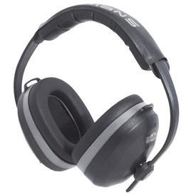 Radians Eliminator 26 NRR 26 Padded EarMuff Protector - Gray and black over head ear muffs with size adjustment and foam padding on head and around ears