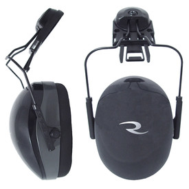 Radians Hard Hat Cap Mount Soft Foam NRR 26 EarMuff - View and profile view of Radians black hard hat cap mount ear muffs.