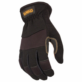 DeWalt Performance Premium Cowhide Leather Glove - Black and dark red safety work gloves with slip on style and padded grip