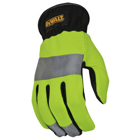 DeWalt Hi-Viz Green Reflective RapidFit Performance Glove - Black and high visibility yellow safety work glove with reflective strip around palm