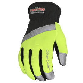 Radians Double Padded Synthetic Hi-Visibility Glove - Black and high visibility yellow safety work glove with reflective strip around palm and finger tips
