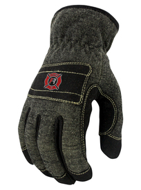 Radians Kevlar FR ANSI 4 Leather Synthetic Work Glove - Gray and black fire resistant safety work glove with yellow threading and slip on design
