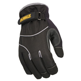 DeWalt Extreme Cold Weather Insulated Work Glove - Dark black insulated safety work glove with size adjustable wrist and light gray threading